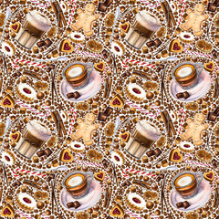 Seamless pattern with different coffee drinks and sweets on white background. Illustration of Latte Macchiato, macchiato, cookies and candy. Hand-drawn by markers, watercolor.