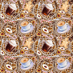 Seamless pattern with different coffee drinks and sweets on white background. Illustration of irish coffee, cappuccino, cookies and candy. Hand-drawn by markers, watercolor.