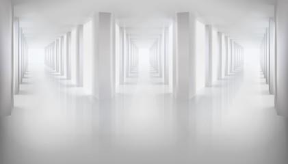 Long hallways. Empty hall. Vector illustration.