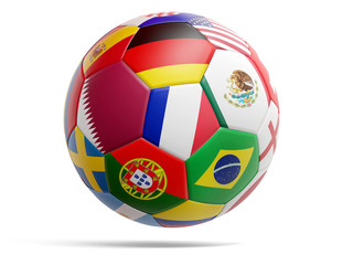 Qatar design soccer football ball with flags of Qatar and various others 3d-illustration