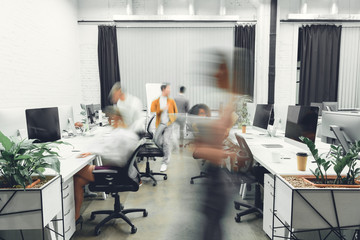 contemporary open space office interior with blurred coworkers in motion Wall mural