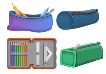 Pencil case icons set. Cartoon set of pencil case vector icons for web design