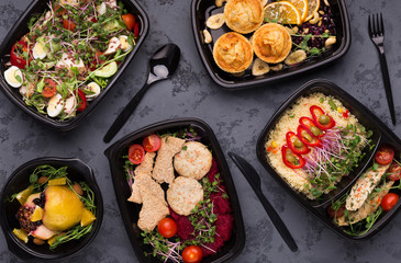 Take away food, variety of healthy meals top view