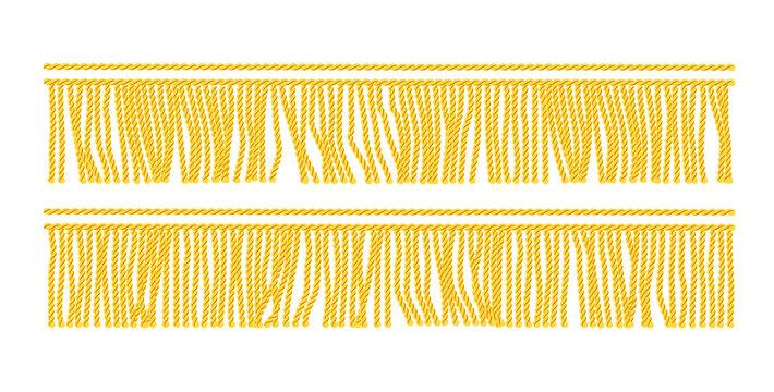 Gold fringe. Seamless decorative element. Textile border.