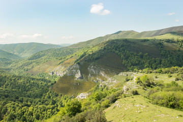 Spectacular high valley of the river Saja, covered by the leafy beech woods that make up Mount Saja. Cantabria