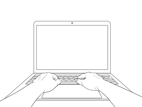Hands working on laptop with blank screen isolated on white background. Vector illustration