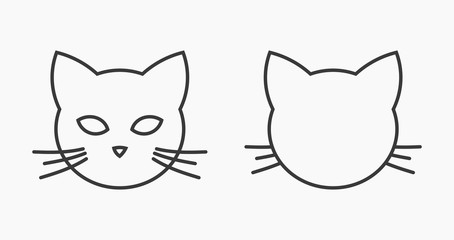 Cat head face line icons.