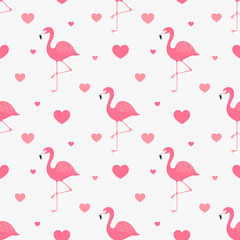 Pink flamingo and hearts seamless pattern