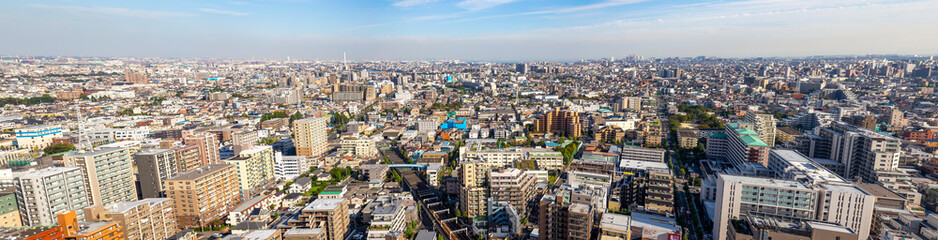 Panorama of Tokyo city with train railway and Biomass powerplant in sky view