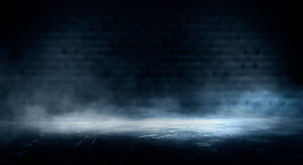 Empty dark room, cold dark background, smoke, smog, the light from the window falls to the floor. Dark blue gloomy background.   3D rendering
