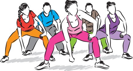 fitness people group vector illustration
