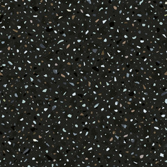 Terrazzo flooring vector seamless pattern in dark colors