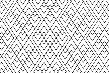 Seamless boho style pattern with outlined rhombus repeat