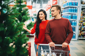 Couple buying new year goods in supermarket