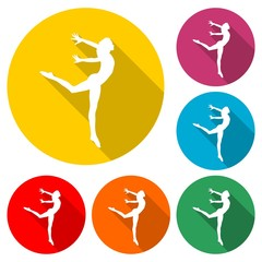 Silhouette of a gymnast woman icon or logo, color set with long shadow