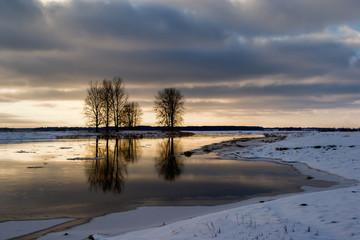 Zima w Dolinie Narwi, Podlasie, Polska