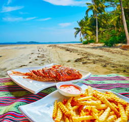 Fish with French fries, Chaung Tha, Myanmar