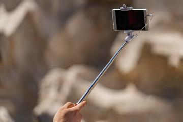 selfie remote control on cellular smartphone