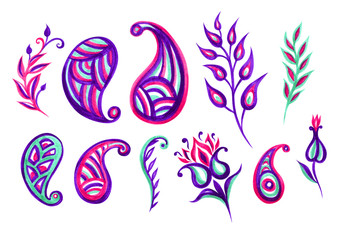 Paisley and floral ornament, watercolor set on a white background isolated with clipping path.