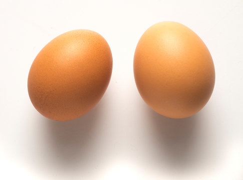 two eggs on table, view from above