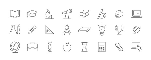 Science and education vector icon set
