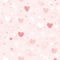 Cute seamless pattern hearts draw by hand. Vector illustration
