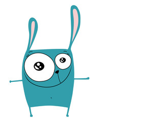 Illustration of a funny turquoise rabbit on a white background. Vector graphics for t-shirt, greeting card