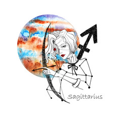 Zodiac sign Sagittarius. Beautiful girl with bow and arrow against the planet Jupiter. Zodiac constellation