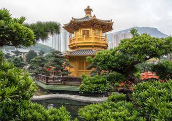 Temple in the Nan Lian Garden by Chi Lin Nunnery in Hong Kong