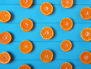 Oranges on wood  background
