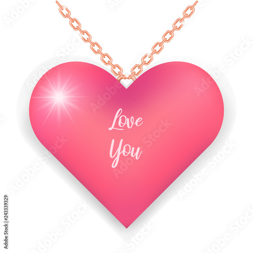 Elegant Necklace With Pink Heart And Ring Chain I Love You Text