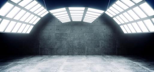 Futuristic Sci Fi Modern Empty Big Hall Dark Grunge Reflective Concrete Curved Big White Blue Lights Studio Stage Empty Showroom Glowing Vibrant 3D Rendering