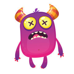 Funny cartoon of crazy monster character. Halloween design