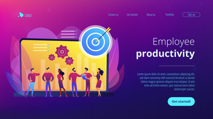 Employees get organizational goals and feedback. Performance management, management software, employee productivity and performance tracking concept. Website vibrant violet landing web page template.