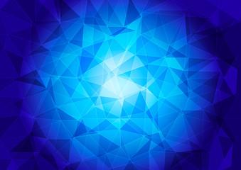 Polygonal pattern on a blue background.