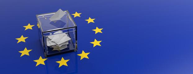 European Union parliament election. Voting box on EU flag background. 3d illustration