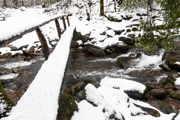 Snow around a creek and old footlog in the Smoky Mountains.