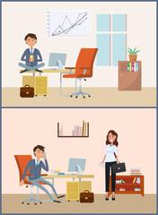 Man Relaxing on Break, Businessman Boss in Office