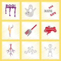 assembly flat shading style icons halloween boo ghost candies Witch broom skeleton sign chicken feet skulls