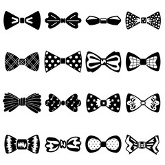 Bowtie icons set. Simple set of bowtie vector icons for web design on white background