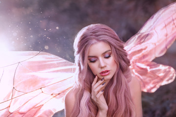 cute faun girl with rose hair with glowing bright pink butterfly wings sit alone in the forest in the morning sun, portrait of a young lady, gorgeous fabulous fantasy photo with highlights
