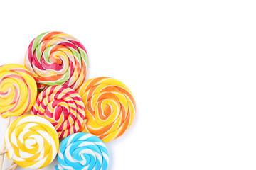 Fotobehang Snoepjes Colorful lollipops isolated on white background