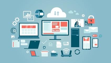 Internet technologies devices computer equipment set vector illustration
