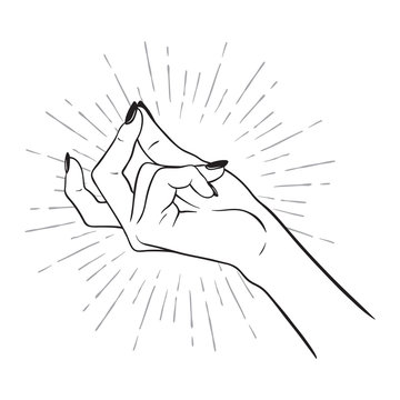 Hand drawn female hand with snapping finger gesture. Flash tattoo, blackwork, sticker, patch or print design vector illustration.