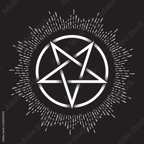 Inverted Pentagram Or Pentalpha Or Pentangle Hand Drawn Dot Work