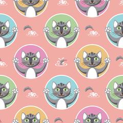 Little Gray Cats Seamless Pattern