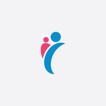 parent and child letter y logo symbol vector