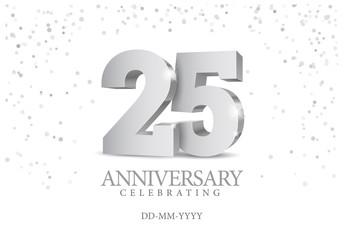 Fototapeta Anniversary 25. silver 3d numbers. obraz