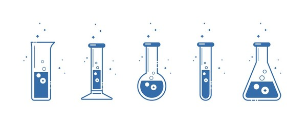 A chemical flask. Icons set. Equipment for chemical laboratory. Line design. Vector