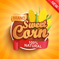 Fresh and sweet corn logo, label or sticker on sunburst background. Natural, organic food.Tasty vegetable,Concept for farmers market, shops,packing and packages,advertising design.Vector illustration.